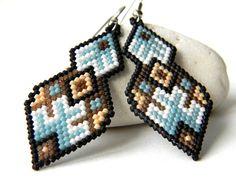 Beaded dangle earrings Colorful peyote earrings Beautiful ethnic earrings Handmade earrings Seed bead earrings Ethnic handmade jewellery