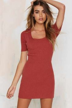 Glamorous Get the Scoop Ribbed Sweater Dress - Rust | Shop Clothes at Nasty Gal!