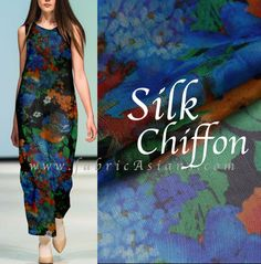 Pretty Fabric!  High-end Printed SILK Chiffon. 53 wide. Beautiful drapes, delicate pattern, light, translucent, soft-sheen. Ship Worldwide from Hong Kong.  ▲▼