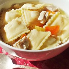 Chicken Ravioli Soup  A meal in a bowl, the dish is an ideal choice to leave on the stove for the babysitter to serve the kids when mom and dad are out splurging on date night.