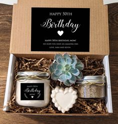 Gift Box Birthday, Happy 50th Birthday, Personalized Candles, Personalised Box, Personalized Birthday Gifts, Little Presents, Curated Gift Boxes, Candle Box, Diy Gift Box