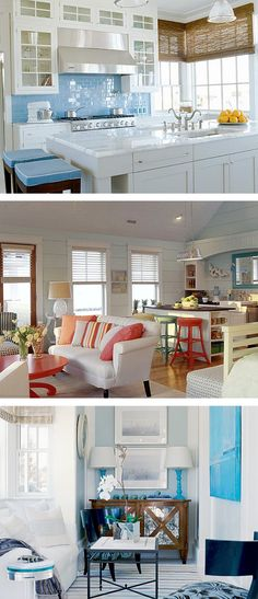 Small kitchens & spaces in beach houses- cute for downstairs living room/small kitchen. LOVE THE COLORS! ( not so much the 1st pic)