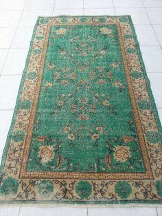 Oushak Rug Overdyed Rugs Vintage Handwoven Anatolian Turkish