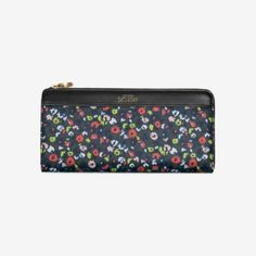Coated Canvas Continental Wallet in Wild Floral