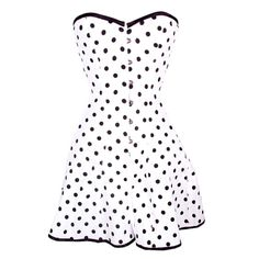 White and Black Polka Dot Corset Dress