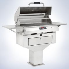 """The outdoor grill the masters use! Our 24"""" flameless pedestal model features a commercial design and industrial strength stainless steel construction. Digital temperature control and even heating let you barbecue with masterful precision. Easy to remove grids and drip pans are a favorite with the clean up crew."""