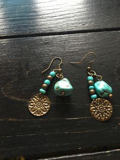 Turquoise dangle and drop earrings, gift for her, natural earrings by bethebridge on Etsy