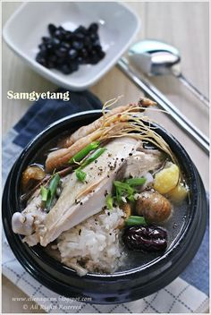 Samgyetang - Chicken w/ ginseng, ginger and garlic