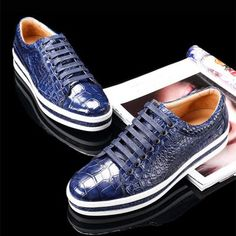 Casual Alligator Leather Shoes Alligator Leather Lace Up Sneakers for Men is part of Sneakers men fashion Stay ahead of fashion by wearing this pair of alligator skin sneakers on any casual occasion - Stylish Mens Fashion, Mens Fashion Shoes, Sneakers Fashion, Fashion Edgy, Fashion Photo, Style Fashion, Fashion Trends, Leather Shoe Laces, Leather And Lace