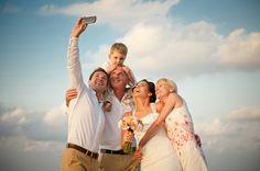 Beach wedding in Crete, Greece .Wedding selfie. Wedding photography