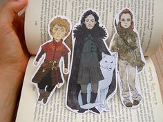 Game of Thrones bookmarks: Tyrion Lannister, Jon Snow (with Ghost) and Ygritte! | A Song of Ice and Fire, Asoiaf, Geek gift, Fantasy art.