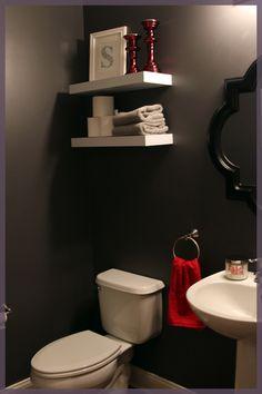 Floating Shelves over toilet.