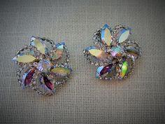 WEISS RHINESTONE EARRINGS  Clip-on Aurora Borealis w Swarovski Crystals Designer Costume Jewelry $68.99 on Etsy by pegi16