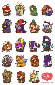Bleed in Colors League of Legends Pugs Cute Animal Drawings, Kawaii Drawings, Cute Drawings, Desenhos League Of Legends, Pugs In Costume, Character Art, Character Design, Bullet Journal Font, Cute Kawaii Animals