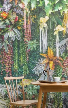 Open up your interior to the refreshing, positive influence of nature with the Vertical Garden Floral Wallpaper Mural. The combination of fresh greenery with colourful blooming flowers creates something truly artistic that will brighten up your interior. Feature Wallpaper, Room Wallpaper, Wallpaper Murals, Blooming Plants, Blooming Flowers, Garden Mural, Botanical Wallpaper, Botanical Decor, Small Backyard Landscaping