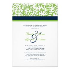 Green and Blue Wedding Invitation