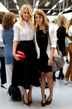 (L-R) Guest and Princess Beatrice of York attends the Markus Lupfer presentation during London Fashion Week Spring Summer 2015 at on 13.09.2014 in London, England.