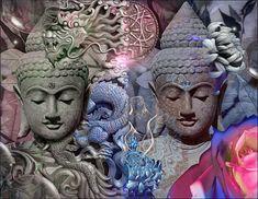 The Dragon Buddhas - Blue Version - Artes digitais ©2018 por Daniel Arrhakis -                                                                                                                                                  Arte ambiental, Arte figurativa, Simbolismo, Surrealismo, Outro, Culturas do mundo, Espiritualidade, Jardim, Religião, Ásia, Asia, Buddha, Buddhism, Digital Art, Fantasy, Spirituality, Sculptures, Peace
