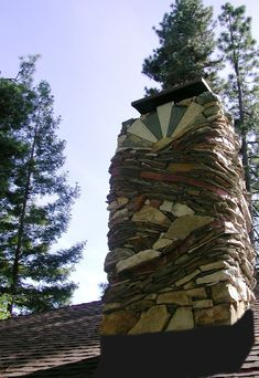 amazing chimney of brick and various stones