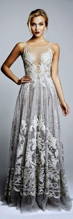 Women's fashion | Grey lace gown