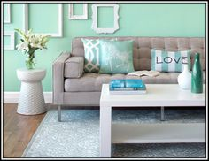 Living Room Decorating Ideas Mint Green coral and mint living room reveal | diy living room, living rooms