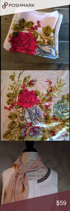 """Vintage floral print blush silk scarf This silk vintage piece will add luxe to any look. Tie around your neck or handbag for a super trendy twist! Super soft light silk. Real vintage comes from a special collection of a lady that use to work in the fashion industry in NYC. I have a whole collection from the 30's through the 70's. All real vintage. 30""""x30"""" Vintage Accessories Scarves & Wraps"""