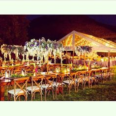 Warm colors and strings of light for an outdoor Fall Wedding ~Amber Event Productions