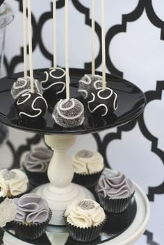 Black and white cake pops links to dessert table in black, silver, white.