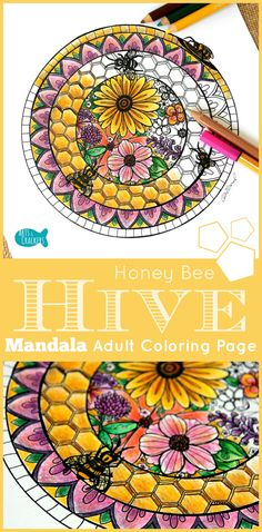 Enjoy this gorgeous FREE Honey Bee Hive Mandala adult coloring page over a warm cuppa. This coloring page is available free when you click the picture, plus you can find out the inspiration behind it and what I used to color it. Bee Coloring Pages, Free Adult Coloring Pages, Free Printable Coloring Pages, Mandala Coloring, Free Coloring, Coloring Books, Coloring Sheets, Free Printables, Bee Pictures