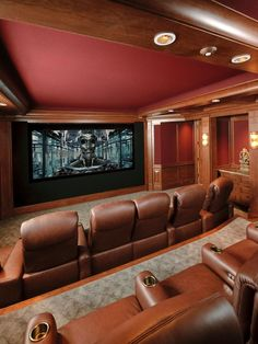 This luxurious home theater is a Goldie Locks dream.  Not too over the top, not too plain - it's just right for the perfect comfortable movie experience.