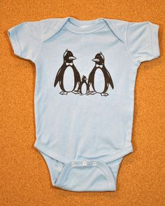 OMG I love this too! Two Daddy Penguins  Baby Bodysuit  Light Blue by TwocanApparel, $12.00 #gay #baby