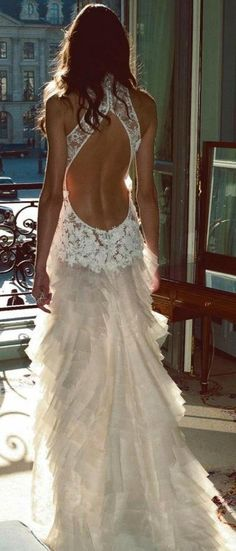 cream colored open back lace dress, wow