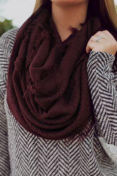Fringe Waffle Knit Infinity Scarf | UOIOnline.com: Women's Clothing Boutique