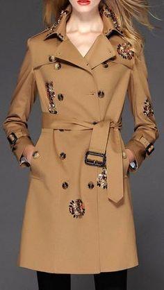 Jeweled Embellished Trench Coat