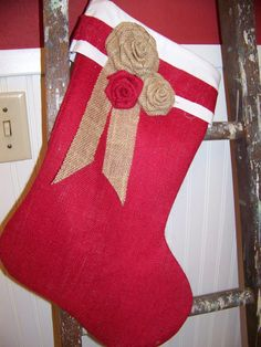 red burlap stocking with burlap roses! love it!!