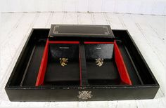 Vintage Black Jewelry Box with Gold Trim  by DivineOrders on Etsy, $23.00