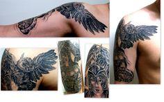 Greek Goddess Athena / Owl / Medusa , by Gords Tattoo, BRA , SP