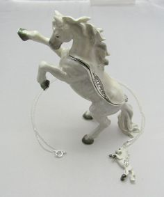 New Trinket Box Gift Crystals White Horse Stallion Animal Necklace