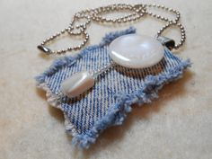 "Necklace in recycled denim w/ mother of pearl button, glass seed beads, stone beads, 24"" bead chain, upcycled, MOP, pendant"
