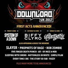 The first bands for the 2017 edition of Download Festival UK have been announced
