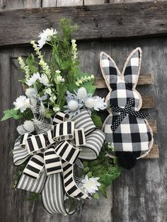 Easter Black and Ivory Bunny on wooden slates for front Door, Easter Bunny Wreath, Holiday wreaths for front door, grapevine, farmhouse by DesignsbyDebbyOhio on Etsy Diy Spring Wreath, Diy Wreath, Advent Wreath, Snowman Wreath, Tulle Wreath, Wreath Burlap, Floral Wreath, Cute Easter Bunny, Hoppy Easter