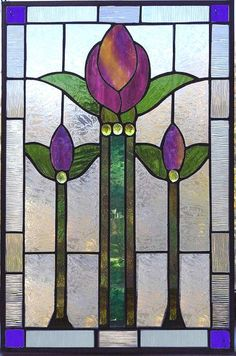 victorian tulip - stained glass window panel