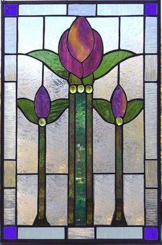 tulipán victoriano - panel de vidriera