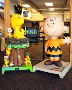 Charlie Brown and Woodstock greet passengers at the Charles M. Schulz Airport in Santa Rosa, Ca