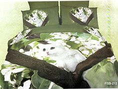 3D White Kitten Print Bed Sets.  #3dBeddingsets #3dBedsets #3dBedding