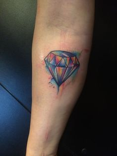 A beautiful and crisp piece of watercolor work by resident artist Jazzy. #watercolor #watercolortattoo #diamondtattoo #tattoo #fremantle #perth #infreo