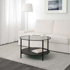 IKEA - VITTSJÖ, Coffee table, black-brown/glass, , The table top in tempered glass is stain resistant and easy to clean.You can select the… Ikea Side Table, Ikea Coffee Table, Black Coffee Tables, Glass Side Tables, Glass Table, Ikea Vittsjo, Liatorp, Apartment Living, Coffee Tables