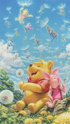 best friends, cloud, and Pooh bear image Winnie The Pooh Christmas, Cute Winnie The Pooh, Winne The Pooh, Winnie The Pooh Quotes, Disney Princess Drawings, Disney Drawings, Baby Disney, Disney Art, Molduras Vintage