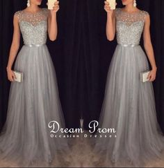 Stunning Grey Round Neckline Beading Tulle Prom Dresses,Evening Dresses · Dream Prom · Online Store Powered by Storenvy