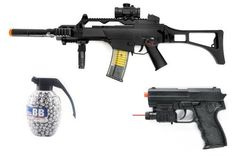 Full Scale Tactical G36C AEG Rifle 260-FPS, Scope, Flashlight, Laser Airsoft Gun, Laser, Flashlight Airsoft Gun + Flashlight, Laser, Spring Pistol 180-FPS + 800 Count High Quality Grenade BB's by Double Eagle. $69.00. Push button clip release holds 50 BB's Switch for selecting between semi-automatic and full-automatic, Features an adjustable hop-up for more accurate firing Includes: 50-pc. 6mm BB's, 7.2v Ni-cd battery w/DC charger, goggles, shoulder strap, silencer, foldi...